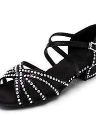cheap -Women's Dance Shoes Satin Latin Shoes Rhinestone Heel Thick Heel Customizable Black / Brown / Leather / Practice