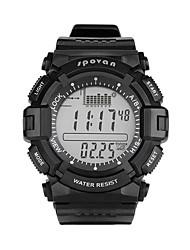 Недорогие -Spovan Муж. Спортивные часы Японский Цифровой Стеганная ПУ кожа Черный 50 m Защита от влаги Хронометр Фосфоресцирующий Цифровой На каждый день - Черный Один год Срок службы батареи