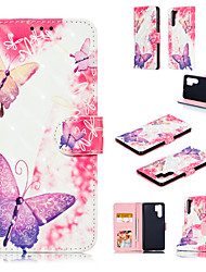 cheap -Case For Huawei Huawei P20 / Huawei P20 Pro / Huawei P20 lite Wallet / Card Holder / with Stand Full Body Cases Butterfly / 3D Cartoon Hard PU Leather