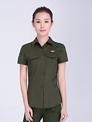 cheap -Women's Camo Hiking Shirt / Button Down Shirts Short Sleeve Outdoor Lightweight Breathable Quick Dry Wear Resistance Tee / T-shirt Shirt Top Autumn / Fall Spring Cotton Hunting Camping / Hiking