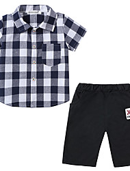 cheap -Baby Boys' Casual / Basic Check Short Sleeve Regular Regular Cotton Clothing Set Blue / Toddler