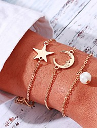 cheap -3pcs Women's Vintage Bracelet Earrings / Bracelet Pendant Bracelet Layered Moon Star Simple Classic Fashion Elegant Imitation Pearl Bracelet Jewelry Gold For Daily School Street Holiday Festival