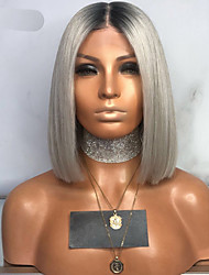cheap -Synthetic Lace Front Wig Straight Middle Part Lace Front Wig Short Grey Synthetic Hair 10-12 inch Women's Adjustable Heat Resistant Party Gray