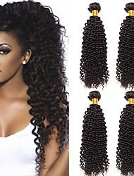 cheap -4 Bundles Brazilian Hair Kinky Curly Unprocessed Human Hair 100% Remy Hair Weave Bundles Headpiece Natural Color Hair Weaves / Hair Bulk Bundle Hair 8-28 inch Natural Human Hair Weaves Odor Free
