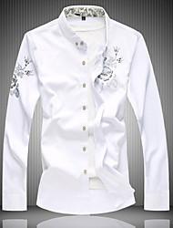 Недорогие -Муж. Большие размеры - Рубашка Классический воротник Тонкие Геометрический принт Черный