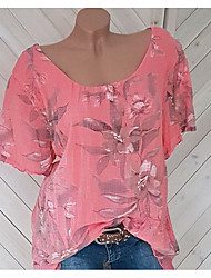 cheap -Women's Slim Blouse - Floral Floral / Fashion Blushing Pink / Spring / Summer / Fall / Winter