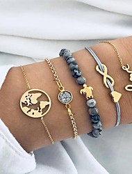 cheap -5pcs Women's Bead Bracelet Vintage Bracelet Earrings / Bracelet Layered Maps Alphabet Shape Heart Simple Classic Vintage Fashion Cute Cord Bracelet Jewelry Gold For Daily School Street Going out