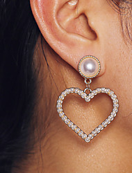 cheap -Women's Drop Earrings Earrings Classic Heart Hollow Heart Simple Pearls European Sweet Fashion Modern Pearl Earrings Jewelry Gold For Daily Street Holiday Work Festival 1 Pair