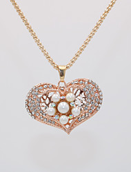 cheap -Women's Pendant Necklace Necklace Long Necklace Classic Heart Love Lucky Statement Unique Design Trendy Fashion Imitation Pearl Chrome Rose Gold Plated White Red Rose Gold 70 cm Necklace Jewelry 1pc
