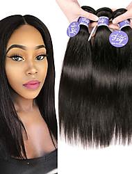 Недорогие -3 Связки Перуанские волосы Прямой Необработанные натуральные волосы 100% Remy Hair Weave Bundles 150 g Головные уборы Человека ткет Волосы Пучок волос 8-28 дюймовый Естественный цвет / Без запаха