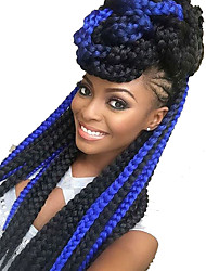 cheap -Jumbo Straight Box Braids Natural Color Synthetic Hair 24 inch Braiding Hair 3 Pieces Heat Resistant