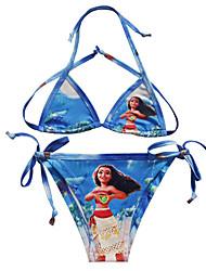 cheap -Bikini Swimsuit Swimwear Cosplay Costumes Moana Beach Girl Kid's Cosplay Costumes Cosplay Halloween Blue Cartoon Printing Christmas Halloween Carnival / Bra / Tanga / Bra / Tanga