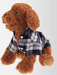 cheap -Dogs T-shirts Dog Clothes Blue Costume Cotton Plaid / Check Classic Stylish Ordinary S M L