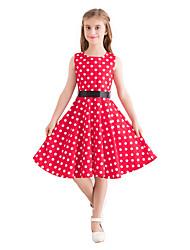 cheap -Kids Girls' Vintage Cute Polka Dot Print Sleeveless Knee-length Dress Red / Cotton