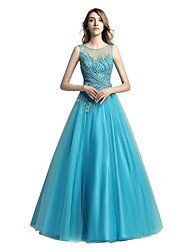 cheap -Ball Gown Illusion Neck Floor Length Tulle Cute / Pastel Colors Prom / Formal Evening Dress 2020 with Beading / Crystals / Pearls