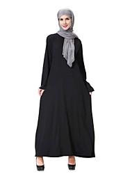 cheap -Women's Vintage Basic Swing Abaya Jalabiya Dress - Solid Colored Black M L XL
