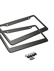 cheap -Black License Plate Frames, 2 PCS Stainless Steel Car Licence Plate Covers Slim Design with Bolts Washer Caps for US Standard