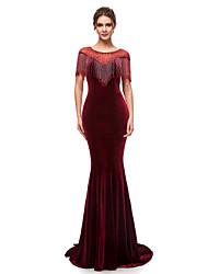 cheap -Mermaid / Trumpet Jewel Neck Court Train Velvet Chinese Style Formal Evening Dress 2020 with Beading / Crystals
