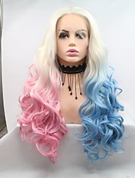 cheap -Synthetic Lace Front Wig Curly Deep Wave Layered Haircut Lace Front Wig Pink Long Light Blue Synthetic Hair 24 inch Women's Women Ombre Hair Blue Pink Sylvia