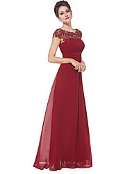 cheap -A-Line Boat Neck Floor Length Chiffon / Lace Empire / Red Prom / Wedding Guest Dress with Pleats / Lace Insert 2020