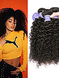 cheap -3 Bundles Brazilian Hair kinky Straight Virgin Human Hair 100% Remy Hair Weave Bundles Natural Color Hair Weaves / Hair Bulk Extension Bundle Hair 8-28 inch Natural Human Hair Weaves Lustrous Sexy