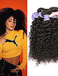 cheap -3 Bundles Indian Hair Kinky Curly Unprocessed Human Hair 100% Remy Hair Weave Bundles Natural Color Hair Weaves / Hair Bulk Bundle Hair Human Hair Extensions 8-28 inch Natural Human Hair Weaves