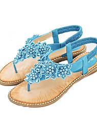 cheap -Women's PU(Polyurethane) Summer Sweet Sandals Flat Heel Open Toe Pearl Blue / Pink / Almond