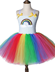 cheap -Rainbow Unicorn Tutu Dress Princess Tulle Kids Birthday Party Children Fancy Costume