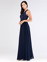 cheap -A-Line V Neck Floor Length Chiffon Bridesmaid Dress with Appliques