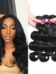cheap -4 Bundles Brazilian Hair Body Wave Virgin Human Hair Headpiece Natural Color Hair Weaves / Hair Bulk Extension 8-28inch Natural Color Human Hair Weaves Safety New Arrival Lovely Human Hair Extensions