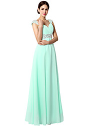 cheap -A-Line Spaghetti Strap Floor Length Chiffon Minimalist Prom / Formal Evening Dress 2020 with Sequin