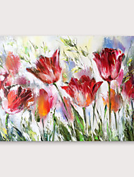 cheap -IARTS®Hand Painted Red flowers Oil Painting with Stretched Frame For Home Decoration