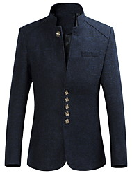 cheap -Men's Blazer Shawl Lapel Polyester Black / Wine / Navy Blue / Slim