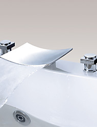 cheap -Bathroom Sink Faucet - Waterfall Chrome Widespread Two Handles Three HolesBath Taps