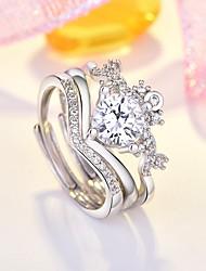 cheap -Women's Multi Finger Ring AAA Cubic Zirconia 3pcs Silver Copper Imitation Diamond Stylish Daily Jewelry Heart