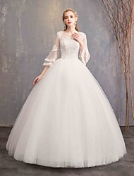cheap -Ball Gown Jewel Neck Floor Length Tulle / Lace Over Satin 3/4 Length Sleeve Made-To-Measure Wedding Dresses with Beading / Lace 2020 / Butterfly Sleeve