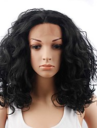 cheap -Synthetic Lace Front Wig Body Wave Deep Curly Free Part Lace Front Wig Medium Length Long Black#1B Synthetic Hair 20 inch Women's Odor Free Elastic Classic Black