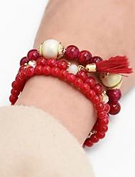 cheap -3pcs Women's Bead Bracelet Vintage Bracelet Earrings / Bracelet Layered Lucky Classic Tassel Ethnic Fashion Boho Acrylic Bracelet Jewelry Dark Blue / Red / Blue For Daily School Street Holiday