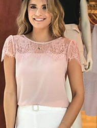 cheap -Women's Slim Blouse - Solid Colored Dusty Rose, Lace White