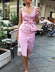 cheap -Women's Slim Sheath Dress Strap Blushing Pink Navy Blue S M L XL
