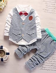 abordables -Bébé Garçon Chinoiserie Damier Manches Longues Coton Ensemble de Vêtements Vert