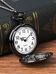cheap -Men's Pocket Watch Quartz Silver Casual Watch Large Dial Analog Fashion Word Watch - Black
