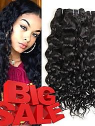 cheap -4 Bundles Brazilian Hair Water Wave Remy Human Hair Natural Color Hair Weaves / Hair Bulk Bundle Hair One Pack Solution 8-28inch Natural Color Human Hair Weaves Cute Safety Fashionable Design Human