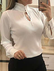 cheap -Women's Solid Colored Chiffon Fashion Hollow Slim Blouse Daily Wear White / Black / Blue / Red