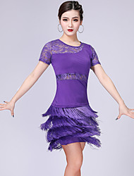 cheap -Latin Dance Skirts Lace Tassel Women's Training Performance Short Sleeve High Spandex Polyester