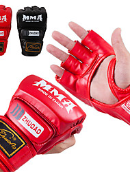 cheap -Boxing Training Gloves Grappling MMA Gloves For Taekwondo Martial Arts MMA Grappling Fingerless Gloves Durable Anti-tear Thicken Breathable Shockproof Protective Latex Men Women - Black Red