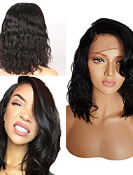cheap -Human Hair Wig Short Wavy Short Bob Party Women Best Quality 13x6 Closure Brazilian Hair Women's Black#1B 6 inch 8 inch 10 inch