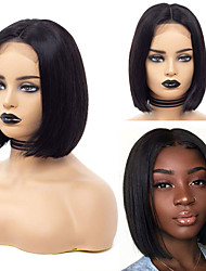cheap -Human Hair Wig Short Straight Short Bob Party Women Best Quality Lace Front Brazilian Hair Women's Black#1B 8 inch 10 inch 12 inch