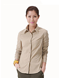 cheap -Women's Hiking Shirt / Button Down Shirts Long Sleeve Outdoor Breathable Quick Dry Warm Stretchy Roll up Sleeves Shirt Autumn / Fall Spring Chinlon Elastane Camping / Hiking / Caving Traveling Orange