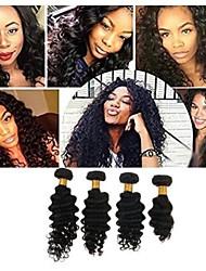 Недорогие -4 Связки Бразильские волосы Крупные кудри человеческие волосы Remy 200 g Человека ткет Волосы Пучок волос One Pack Solution 8-28inch Естественный цвет Ткет человеческих волос / Без запаха